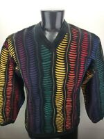 Vintage Tundra Multi-Colored Colorful Coogi Style 3D Texture Sweater Men's Small