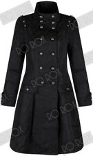 Womens Victorian Military Brocade Trench Coat Punk Gothic Jacket Size UK 6 - 8