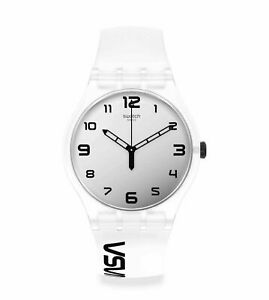 New Swatch NASA SPACE RACE Grey Dial Rubber Band Men's Watch SUOZ339