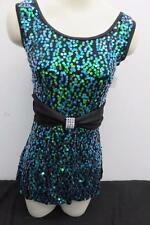 Dance Costume Small Adult Blue Green Sequin Jazz Tap Solo Competition