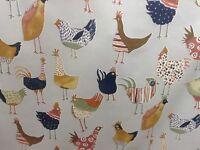 Harriet Hens Chicken Cotton  Grey Curtain/Craft Fabric