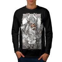 Wellcoda North Warrior Face Mens Long Sleeve T-shirt, Nordic Graphic Design