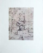 L'HOMME-Arbre dans un Paysage Jérôme BOSCH Dessin Rehaussé Imprimé 197 x 270 mm