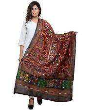 Women Cotton Embroidered Kutchi Dupatta Tippet Scarf Traditional Wear