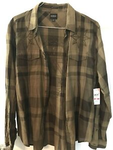 New NWT Mens Dark Olive Jake Plaid Shirt By GUESS Size L Retails $79