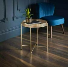 Tromso Contemporary Metal Tray Table With Removable Top Coffee/Side Table - Gold