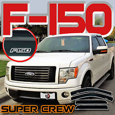 2009-2014 F150 Supercrew Side Window Door Deflectors Rain Vents Sun Visors Shade