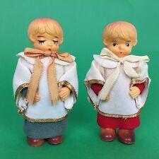 "VTG Set of 2 Rare 4.5"" Christmas Carolers Choir Singer Figures Made in Japan"