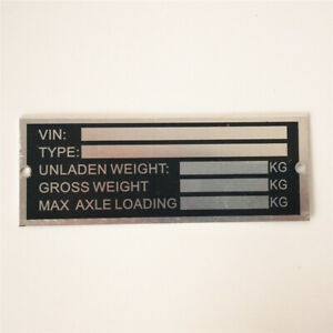 Trailer Blank VIN & Weight Chassis Plate 120mm x 45mm Identification Number