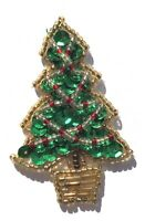 Lot of 3 VTG Small Christmas Tree Beaded Sequined Applique Sew On Craft Patch