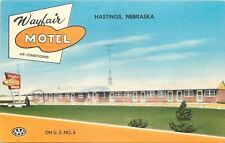 Hastings Nebraska~Wayfair Motel on US 6~TV Antenna~1950s Linen Motor Court PC