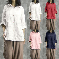ZANZEA 8-24 Women Long Sleeve Shirt Tee Cotton Top Plain Basic Button Up Blouse