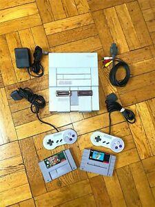 Super Nintendo SNES Console w/ OEM Controllers + w/ Mario World & Donkey Kong
