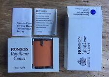 NOS Vintage Ronson Varaflame Comet Cigarette Lighter Orange Original Case A/F