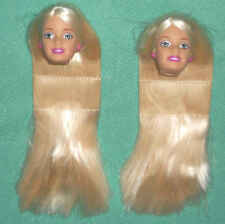 2 Mint Long Platinum Blonde Barbie Heads ~ Make Your Own Ooak! Regular Size!