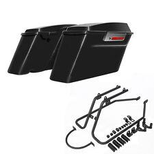 For 04-16 Harley Sportster 1200 883 Vidvid Black Saddlebags+Conversion Bracket