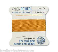Ámbar amarillo Nylon Potencia sedoso Hilo 0.65 Mm Encordar Perlas Y Cuentas Griffin 5