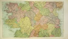 1912 LARGE ANTIQUE MAP ~ IRELAND CENTRAL ~ WICKLOW GALWAY