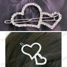 RHINESTONE CRYSTAL double heart SMALL HAIR SLIDE pin side comb CUTE HEARTS