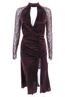 Jonathan Simkhai Womens Lace Layered Surplice Midi Sheath Dress Burgundy Size 2