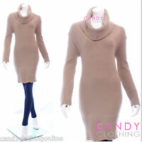 Womens V Neck Knitted Jumper Bodycon Dress Tunic Spring Top Size 8 10 12 14 16