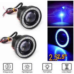 2.5 Inch 64MM Car COB LED Fog Light Projector Blue Angel Eyes Halo Ring DRL Lamp