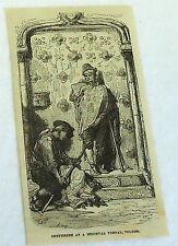1878 magazine engraving~ SHEPHERDS AT MEDIEVAL PORTAL, TOLEDO ~ Spain