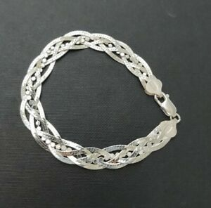 "Vintage Solid Sterling Silver 925 Bracelet Flat Chain Twist Hallmarked 8g 7.5"""