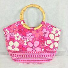 Vera Bradley Womens Pink Fuchsia Floral Fabric Wooden Handle Handbag