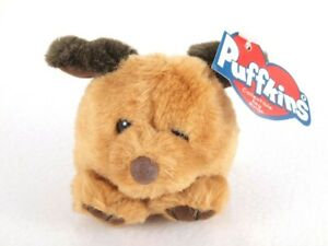 Puffkins Collectible Plush Keychain Key Ring FETCH Tan Brown Puppy Dog