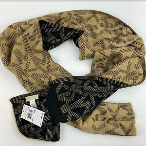 Michael Kors Scarf MK Logo Reversible Black Camel Tan $88 Knit Sweater NWT