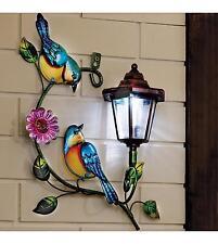 Solar Powered Bird Wall Lantern Plaque Garden Lawn Ornament Outdoor Decoration