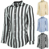 Men Slim Fit Shirts Long Sleeve Striped Button Down Blouse Tops Tee Stylish Top
