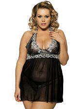 Plus Size Halter Neck Baby Doll - Black - Size 14 to 22