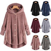 Women Long Sleeve Fluffy Hooded Jacket Hoodie Coat Lady Casual Warm Outwear Top