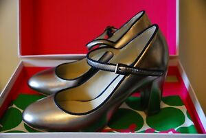 Boden womens pewter Mary Jane shoes size 37 New in Box