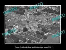 OLD LARGE HISTORIC PHOTO ENNIS Co CLARE IRELAND AERIAL VIEW OF TOWN c1950 2