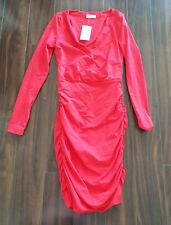 BNWT kookai red ruched fitted long sleeve sexy dress XS S 1 6 8