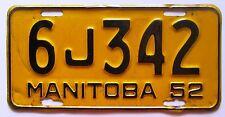 Manitoba 1952 License Plate NICE QUALITY # 6J342