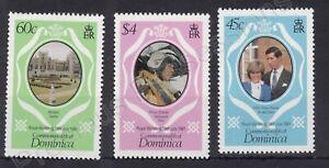 1981 Royal Wedding Charles & Diana MNH Stamp Set Dominica SG 747-749 PINK $4 P14