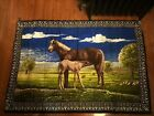 """Vintage Wall Decorative Tapestry Made In Turkey Horse And Foal 59""""x38"""""""