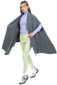 RRP €355 DKNY PURE Cape Cardigan One Size Alpaca & Wool Blend Melange Effect