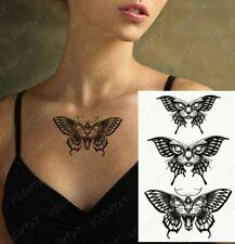3x Black Butterflies Moths Cat Face Tattoo Fake Sticker Women Mens Arm Leg