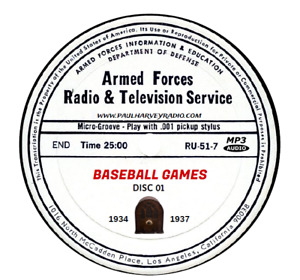 BASEBALL GAMES (307 BROADCASTS) OLD TIME RADIO MP3 13 CD'S