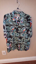 *Paradise Found* Men's Hawaiian Tropical Parrot Shirt XL Rayon