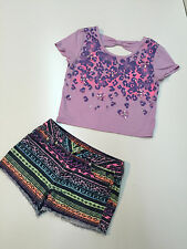 Girl Spring Summer Justice Outfit Sequin Crop Top & Denim Shorts Size 12-14