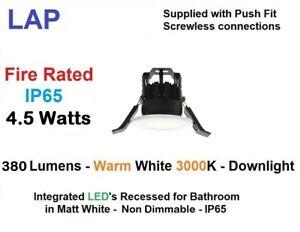 LAP 10 x 4.5w Warm White IP65 380Lmn Recessed Bathroom Downlight Non-Dimm White