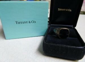 Tiffany & Co. Silver -Black Onyx -15 Year Ring Nestle Co. - Display & Outer Box