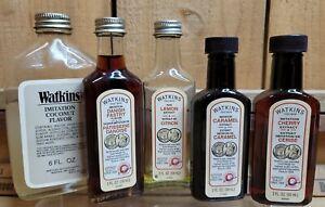 5 VIntage Watkins Flavor & Extracts Coconut Danish Pastry Lemon Caramel Cherry