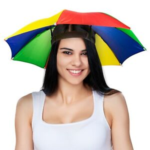 UMBRELLA HAT CAP - Rain Sun Shade Sports Beach Fishing - Kids Adults Hands Free